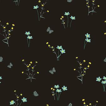 Полевые цветы на желтом и мягком синем тоне бесшовные модели для ткани, текстиля или обоев