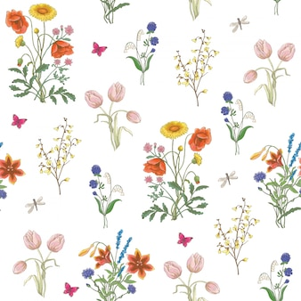Wildflowers, poppy, chamomile, background.