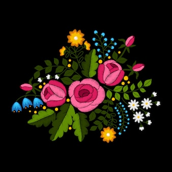 Wildflowers and roses embroidery on black background.