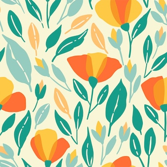 Wildflowers seamless pattern. vector poppys illustration with yellow flowers