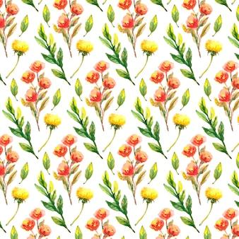 야생화, 수채화, 양귀비, 수레 국화, 카모마일 패턴