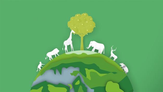 야생 동물은 전 세계에 있습니다. 세계 환경의 날을위한 종이 절단 및 공예 스타일의 미니멀리즘 디자인.