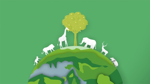 Wildlife animals are around the world. minimalism design in paper cut and craft style for world environment day.