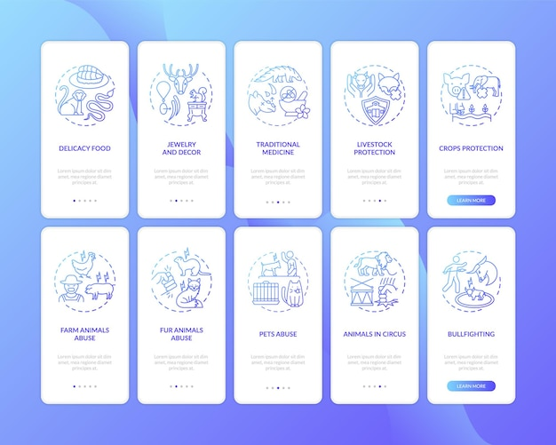 개념이 설정된 야생 동물 보호 진한 파란색 온 보딩 모바일 앱 페이지 화면