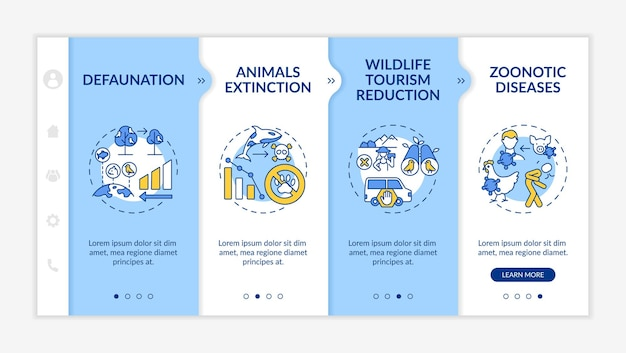 Wildlife conservation onboarding template isolated