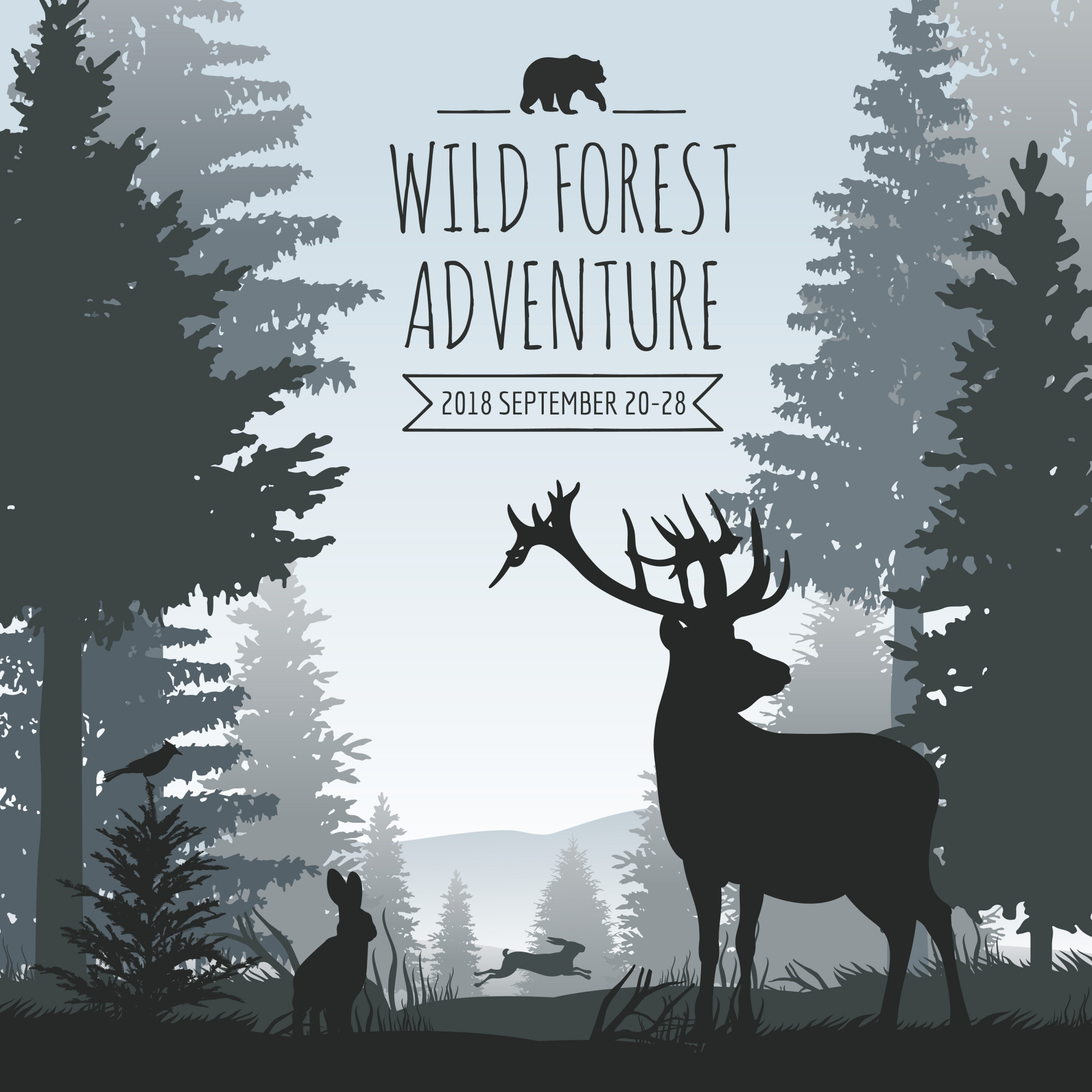 Wildlife foggy coniferous forest vector background with pines trees and animals silhouettes