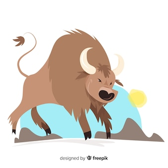 Wildlife furious buffalo illustration