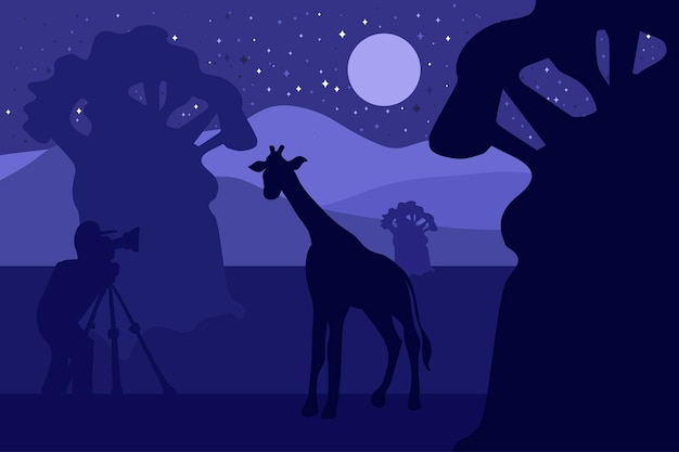 Wildlife, nature photographer vector illustration. minimalistic night with giraffe silhouette