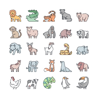 Wildlife outline color icons set