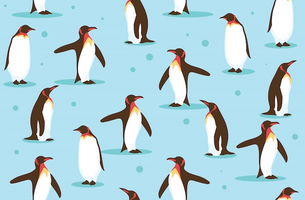 Wildlife of penguin in the north seamless background pattern