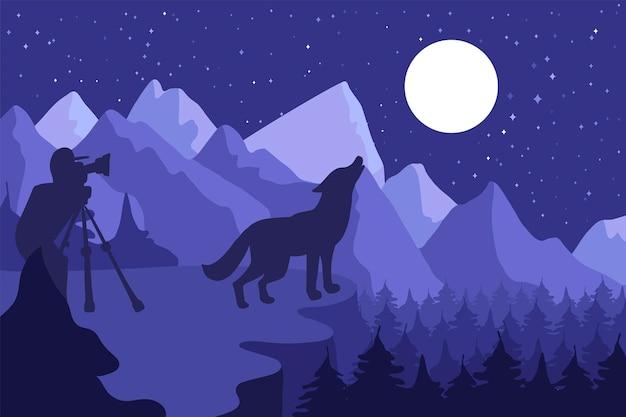 야생 동물 사진 작가 평면 벡터 일러스트 레이 션. 짖는 늑대 실루엣이 있는 최소한의 배경