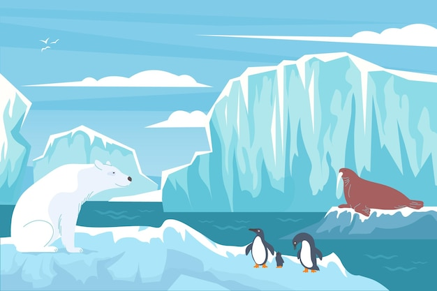 Wildlife polar flat composition with nordic landscape blocks of ice cliffs white bear penguins and seal illustration