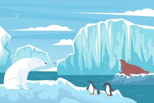 Полярная плоская композиция дикой природы с северными пейзажными блоками ледяных скал, пингвинами белого медведя и иллюстрацией тюленя