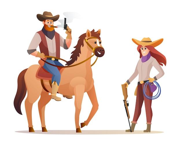 말을 타고 있는 동안 총을 들고 있는 야생 동물 서부 카우보이와 소총 총 캐릭터를 들고 있는 카우걸