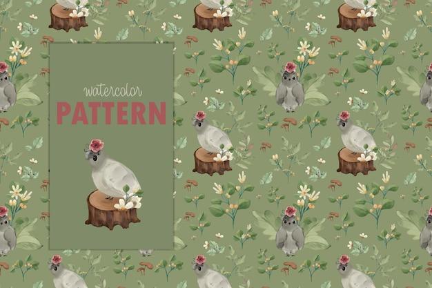 野生動物と自然の花。シームレスパターンのイラスト。
