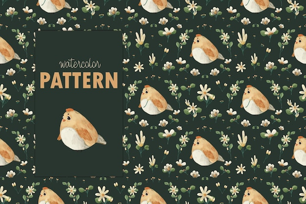 Wilds animals and natural flowers. seamless pattern illustration.