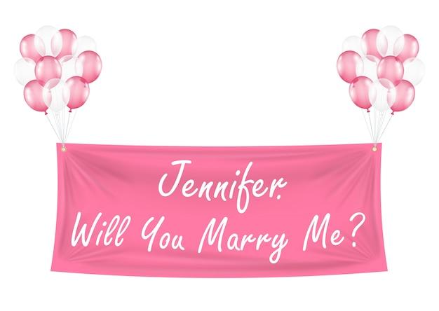 너 나랑 풍선 핑크 배너 결혼 해 줄래