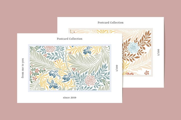 William morris pattern postcard