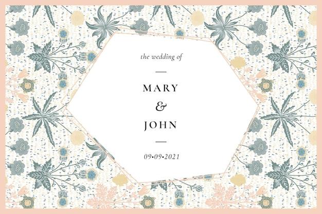William morris patterned wedding invitation template