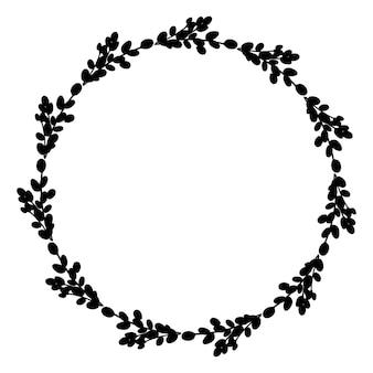 柳イースターリース柳の枝のイラストの丸いリースフレーム