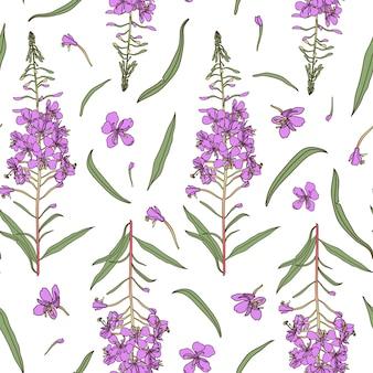 ウィローハーブのシームレスなパターン。手描きの植物図。