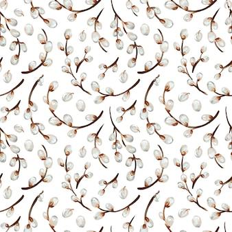 버드 나무 나뭇가지 완벽 한 패턴입니다. 손으로 그린 그림