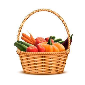 新鮮な農家の収穫野菜のイラストでいっぱいの柳の枝編み細工品バスケット