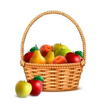Willow wicker basket one handle full with ripe fresh farmer market fruits closeup realistic image  illustration