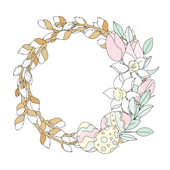 Willow wreath easter vector illustration set