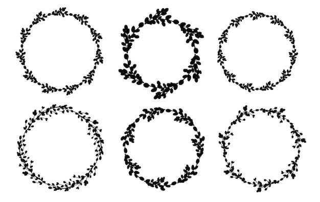 Willow wreath set round flower wreath flat illustration