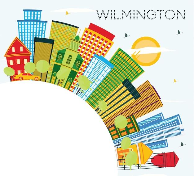 Горизонты города уилмингтон делавэр с цветными зданиями, голубым небом и копией пространства. векторные иллюстрации. деловые поездки и концепция туризма с современными зданиями. городской пейзаж уилмингтона с достопримечательностями.