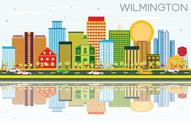 Горизонт уилмингтона с цветными зданиями, голубым небом и отражениями. векторные иллюстрации. деловые поездки и концепция туризма с современными зданиями. изображение для презентационного баннера и веб-сайта.