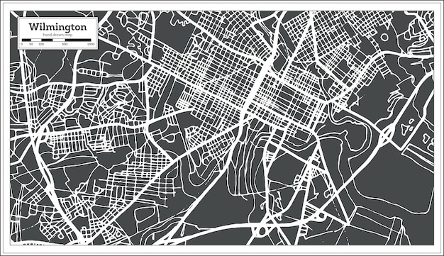 Wilmington usa city map in retro style. outline map. vector illustration.