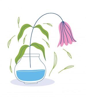 Увядший цветок в листьях вазы украшает ботанику