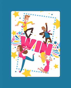 Win card with bright lines, star shapes