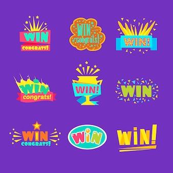 Выиграйте поздравления стикеры ассортимент комических дизайнов для видеоигр победный финал