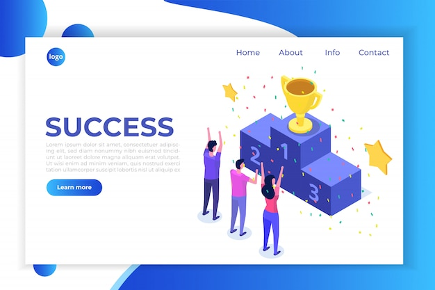 Win, isometric winner business, success and achievement concept with characters.