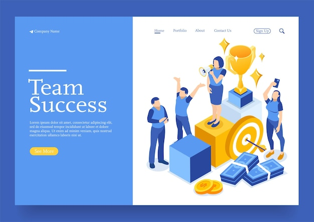 Win isometric winner business success and achievement concept with characters