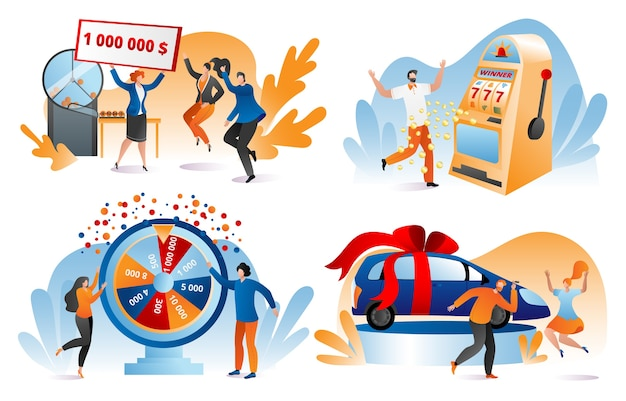 Win lottery prize, fortune winners set of  illustrations. lucky people holding bank check for million dollars. winning lottery, prize, car. gambling, casino chance to play and win.