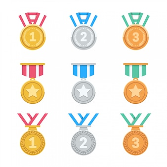 Win medals set. colorful flat award medals. 1st, 2nd, 3rd places. 3d prize medals.  illustration.