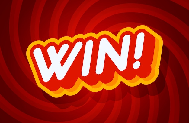 Win red and yellow text effect template