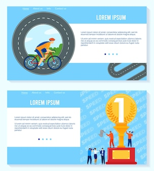 Win in sport competition  illustration set.