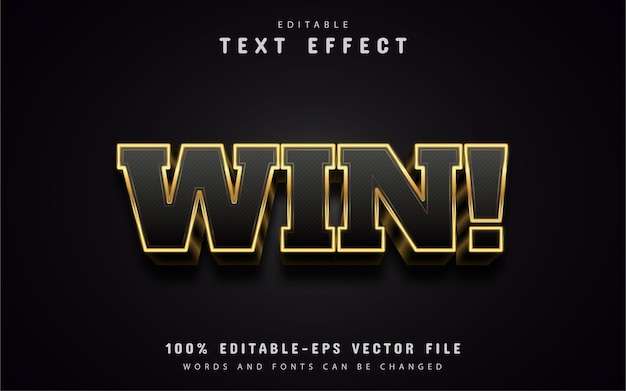 Текст победы, текстовый эффект в стиле 3d золота