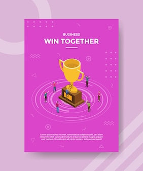 Win together in business concept for template banner and flyer with isometric style vector