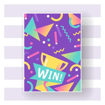 Win trophy with bright lines, dots and geometric shape