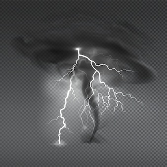 Wind dust spray realistic composition with transparent and image of typhoon hurricane cloud with thunderbolt illustration