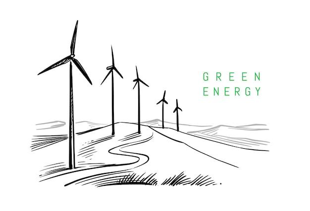 白い背景に描画する風力エネルギー。スケッチデザイン