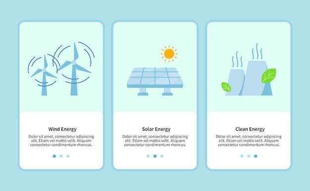 모바일 앱용 풍력 에너지 템플릿 ui 웹