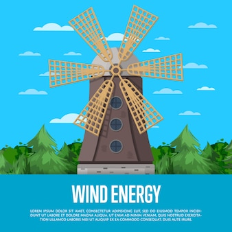 Wind energy poster with wooden old windmill