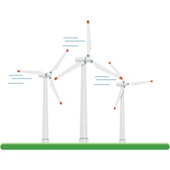白で隔離風力エネルギーパワータービンベクトルアイコン